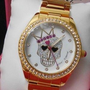 Betsey Johnson Gold KING SKULL WATCH